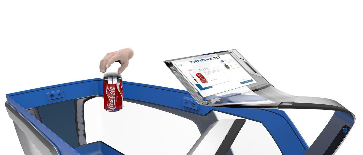 Einkaufswagen mit Touchscreen, der ein eingelegtes Produkt scannt