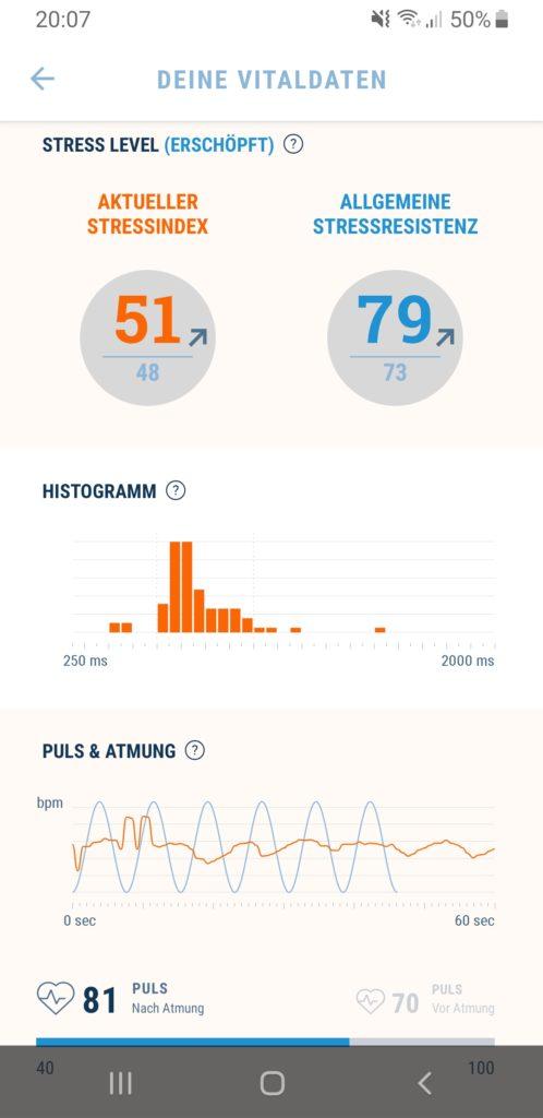 Datenübersicht der App Stress Guide mit verschiedenen Zahlen und Graphen