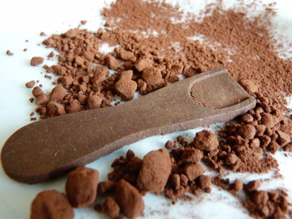 Ein brauner essbarer Eisloeffel liegt auf Kakaopulver