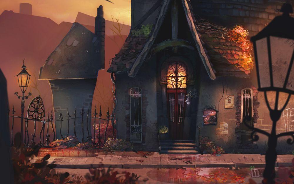 Illustration aus dem Spiel Ernas Unheil - das düstere Haus der Nachbarin und ihr Garten sind zu sehen