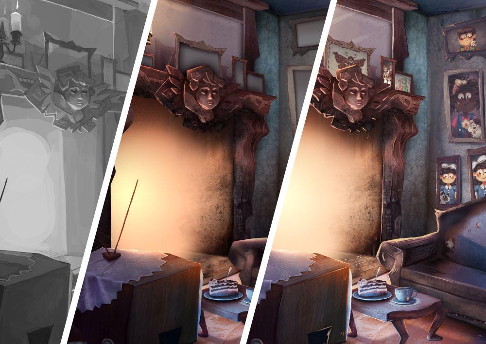 Drei Illustrations-Phasen eines gezeichneten Wohnzimmers
