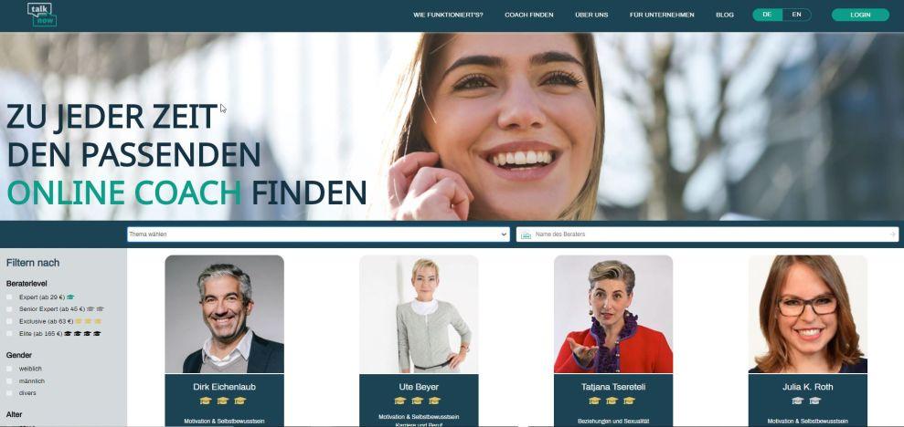 Screenshot der Berater-Übersicht auf der talknow-Website