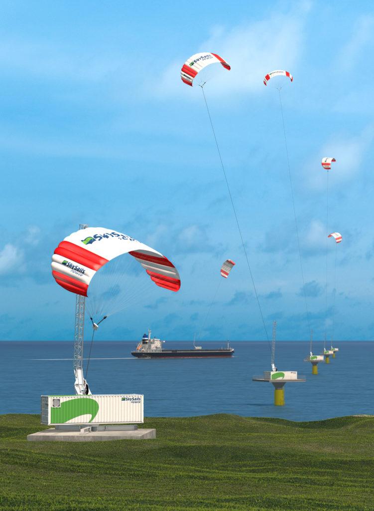 Eine Visualisierung mehrerer SkySails Drachen, die Strom am Land und auf dem Wasser erzeugen