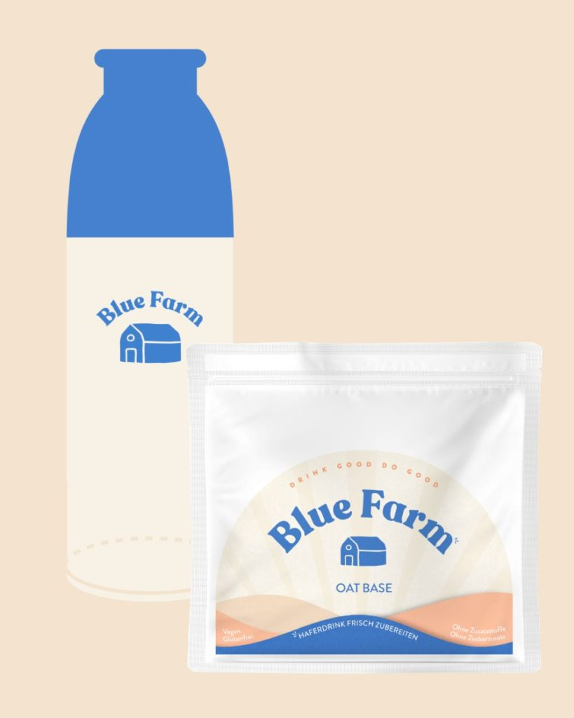 Eine Hafermischung und die Trinkflasche von Blue Farm